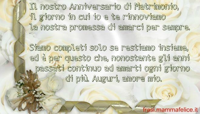 Frase auguri anniversario matrimonio amarsi per sempre for Auguri per 25 anniversario di matrimonio
