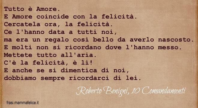 Molto Frasi famose Roberto Benigni: I 10 comandamenti | Frasi Mammafelice YM75